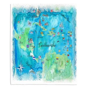 Decorative Fleece Throw Blankets | Markus Bleichner - Caribbean Travel Map | Caribbean Sea Mexico Florida