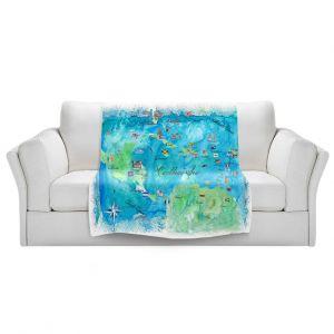 Artistic Sherpa Pile Blankets | Markus Bleichner - Caribbean Travel Map | Caribbean Sea Mexico Florida