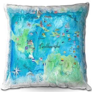 Throw Pillows Decorative Artistic   Markus Bleichner - Caribbean Travel Map   Caribbean Sea Mexico Florida
