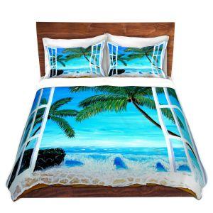 Artistic Duvet Covers and Shams Bedding   Markus Bleichner - Caribbean View 1   Landscape Beach Ocean Trees