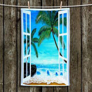 Unique Hanging Tea Towels | Markus Bleichner - Caribbean View 1 | Landscape Beach Ocean Trees