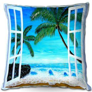 Decorative Outdoor Patio Pillow Cushion | Markus Bleichner - Caribbean View 1 | Landscape Beach Ocean Trees
