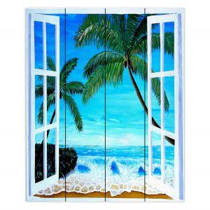 Decorative Wood Plank Wall Art | Markus Bleichner - Caribbean View 1 | Landscape Beach Ocean Trees