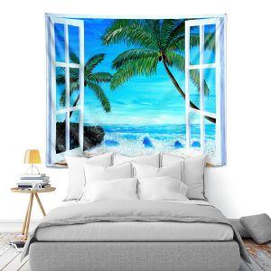Artistic Wall Tapestry | Markus Bleichner - Caribbean View 1 | Landscape Beach Ocean Trees