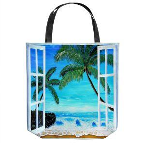 Unique Shoulder Bag Tote Bags | Markus Bleichner - Caribbean View 1 | Landscape Beach Ocean Trees