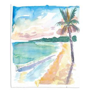 Decorative Fleece Throw Blankets | Markus Bleichner - Caribbean View 2 | Beach Ocean Trees Nature