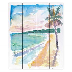 Decorative Wood Plank Wall Art   Markus Bleichner - Caribbean View 2   Beach Ocean Trees Nature
