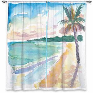 Decorative Window Treatments | Markus Bleichner - Caribbean View 2 | Beach Ocean Trees Nature