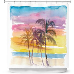 Premium Shower Curtains | Markus Bleichner - Caribbean View 3 | Beach Ocean Trees Nature