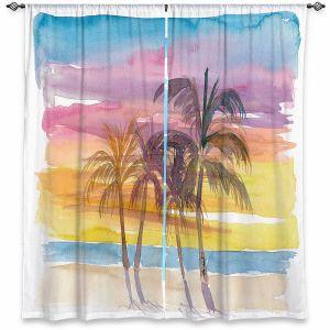 Decorative Window Treatments | Markus Bleichner - Caribbean View 3 | Beach Ocean Trees Nature