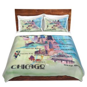 Artistic Duvet Covers and Shams Bedding | Markus Bleichner - Chicago Tourist 2 | map city simple