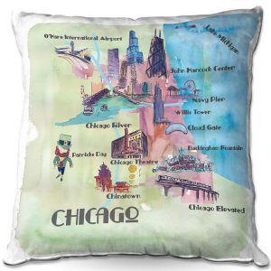 Throw Pillows Decorative Artistic   Markus Bleichner - Chicago Tourist 2   map city simple