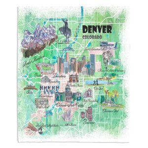 Decorative Fleece Throw Blankets | Markus Bleichner - Denver Colorado Map | Cities Maps States