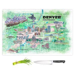 Artistic Kitchen Bar Cutting Boards | Markus Bleichner - Denver Colorado Map | Cities Maps States