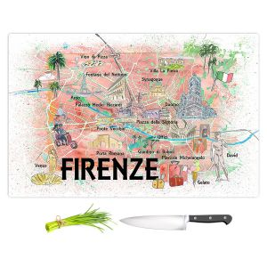 Artistic Kitchen Bar Cutting Boards | Markus Bleichner - Florence Italy Map | Cities Maps Countries