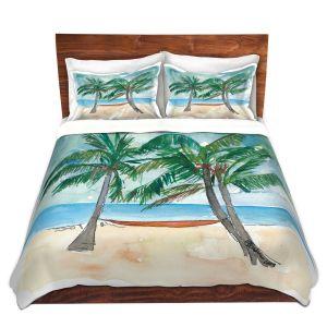 Artistic Duvet Covers and Shams Bedding   Markus Bleichner - Florida Keys Hammock   Beach Ocean Landscape Trees