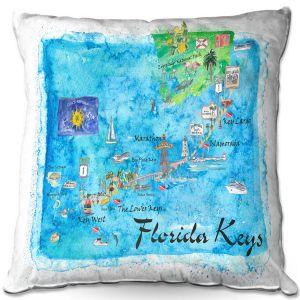 Throw Pillows Decorative Artistic   Markus Bleichner - Florida Keys Map   Maps States