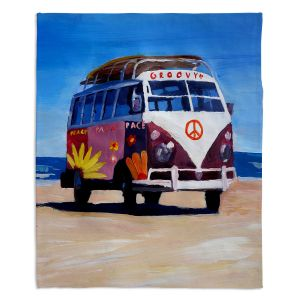 Decorative Fleece Throw Blankets | Markus Bleichner - Groovy Peace VW Bus
