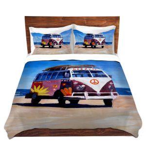 Artistic Duvet Covers and Shams Bedding | Markus Bleichner - Groovy Peace VW Bus