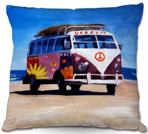 Decorative Outdoor Patio Pillow Cushion | Markus Bleichner - Groovy Peace VW Bus