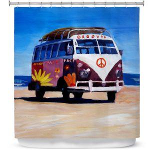 Premium Shower Curtains | Markus Bleichner Groovy Peace VW Bus