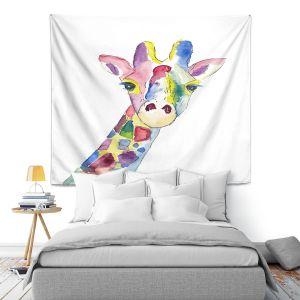 Artistic Wall Tapestry   Markus Bleichner - Happy Giraffe   Animals