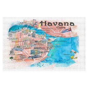 Decorative Floor Covering Mats | Markus Bleichner - Havana Cuba Map | Maps Cities Countries Travel