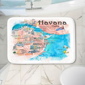 Decorative Bathroom Mats | Markus Bleichner - Havana Cuba Map | Maps Cities Countries Travel