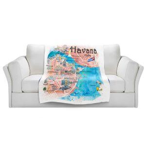 Artistic Sherpa Pile Blankets | Markus Bleichner - Havana Cuba Map | Maps Cities Countries Travel