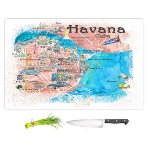 Artistic Kitchen Bar Cutting Boards | Markus Bleichner - Havana Cuba Map | Maps Cities Countries Travel