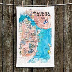 Unique Hanging Tea Towels | Markus Bleichner - Havana Cuba Map | Maps Cities Countries Travel