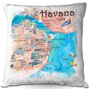 Throw Pillows Decorative Artistic | Markus Bleichner - Havana Cuba Map | Maps Cities Countries Travel