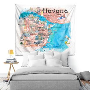 Artistic Wall Tapestry   Markus Bleichner - Havana Cuba Map   Maps Cities Countries Travel