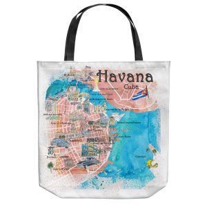 Unique Shoulder Bag Tote Bags   Markus Bleichner - Havana Cuba Map   Maps Cities Countries Travel