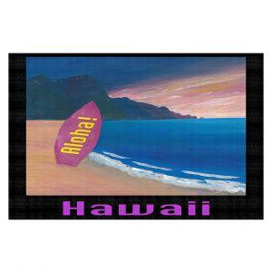 Decorative Floor Covering Mats | Markus Bleichner - Hawaii Surfboard | coast beach waves summer surfing