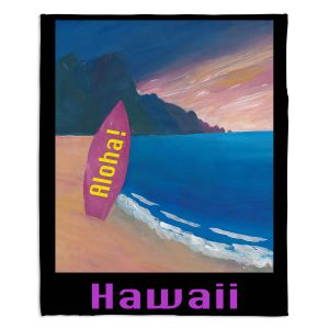 Decorative Fleece Throw Blankets | Markus Bleichner - Hawaii Surfboard | coast beach waves summer surfing
