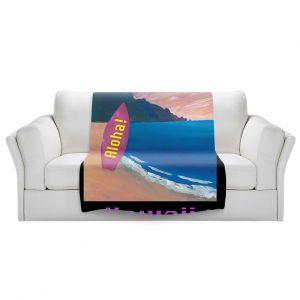 Artistic Sherpa Pile Blankets   Markus Bleichner - Hawaii Surfboard   coast beach waves summer surfing