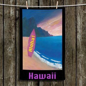 Unique Hanging Tea Towels | Markus Bleichner - Hawaii Surfboard | coast beach waves summer surfing