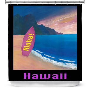Premium Shower Curtains | Markus Bleichner - Hawaii Surfboard | coast beach waves summer surfing