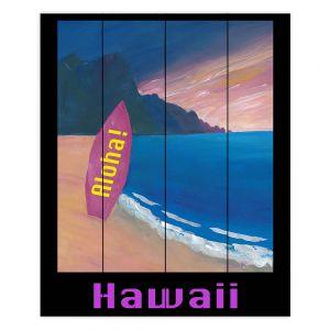 Decorative Wood Plank Wall Art | Markus Bleichner - Hawaii Surfboard | coast beach waves summer surfing