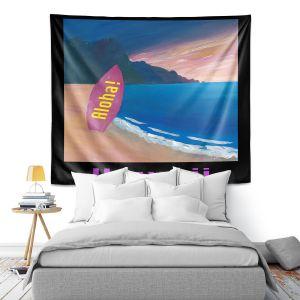 Artistic Wall Tapestry | Markus Bleichner - Hawaii Surfboard | coast beach waves summer surfing