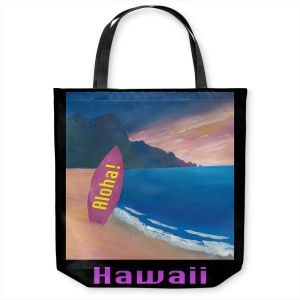 Unique Shoulder Bag Tote Bags | Markus Bleichner - Hawaii Surfboard | coast beach waves summer surfing