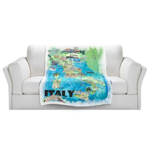 Artistic Sherpa Pile Blankets | Markus Bleichner - Italy Tourist Map 2 | Maps Cities Countries Travel