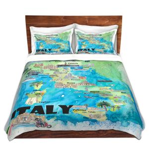 Artistic Duvet Covers and Shams Bedding | Markus Bleichner - Italy Tourist Map 2 | Maps Cities Countries Travel
