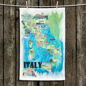 Unique Hanging Tea Towels | Markus Bleichner - Italy Tourist Map 2 | Maps Cities Countries Travel