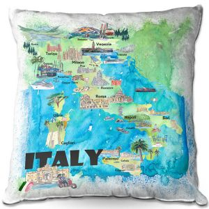 Throw Pillows Decorative Artistic | Markus Bleichner - Italy Tourist Map 2 | Maps Cities Countries Travel