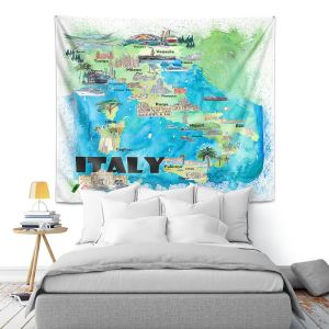 Artistic Wall Tapestry   Markus Bleichner - Italy Tourist Map 2   Maps Cities Countries Travel