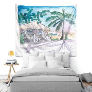 Artistic Wall Tapestry | Markus Bleichner - Key West House 1 | Building Beach Ocean Trees