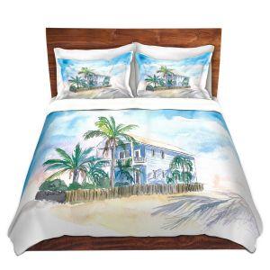 Artistic Duvet Covers and Shams Bedding | Markus Bleichner - Key West House 2 | Building Beach Ocean Trees