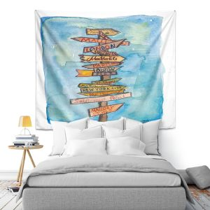 Artistic Wall Tapestry   Markus Bleichner - Key West Sign Post   City Travel